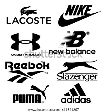Istanbul, Turkey - March 30, 2017: Collection of popular sports brand logos printed on paper: Lacoste, Nike, Under Armour, New Balance, Reebok, Slazenger, Puma and Adidas