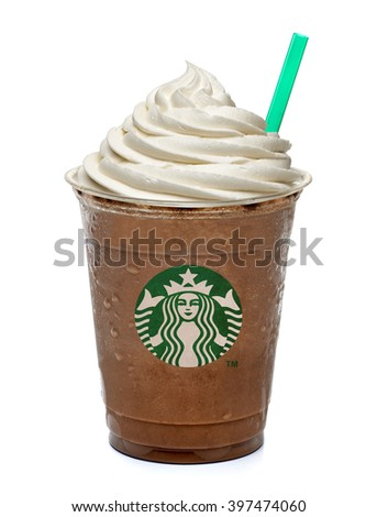 ISTANBUL, TURKEY - March 15, 2016: Cup of Starbucks Frappuccino on white background. Starbucks is the World's largest coffee house. - stock photo