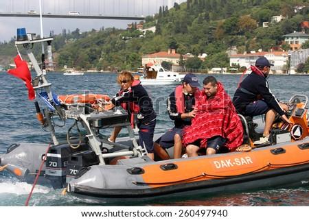 ISTANBUL, TURKEY - MARCH 13: Dak-Sar Sea Rescue Team in the Bosphorus sea on March 13, 2010 in Istanbul, Turkey.  - stock photo
