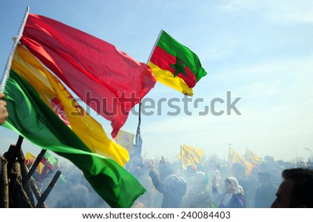 ISTANBUL,TURKEY - MARCH 21: Kurds celebrating their traditional feast Newroz that means 'new day' in kurdish on March 21, 2009 in Istanbul, Turkey.