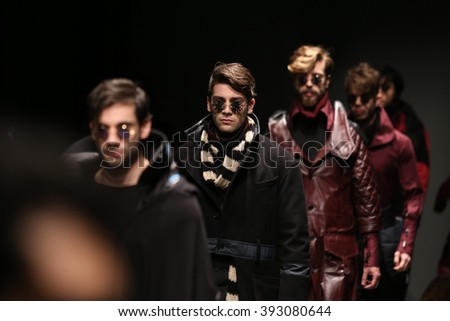 ISTANBUL, TURKEY - MARCH 16, 2016: Models showcase the latest creations of Safak Tokur Catwalk in Mercedes-Benz Fashion Week Istanbul