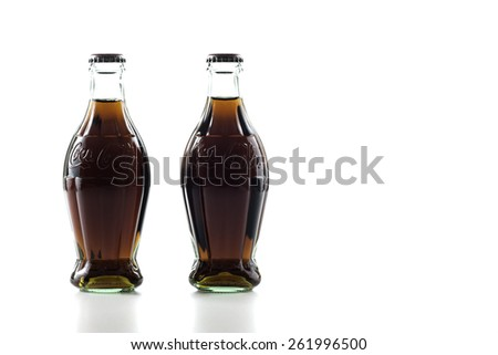 Istanbul,Turkey - March 19,2015 : Nostalgic Coca-Cola 250 ml bottles isolated in white backgrounds