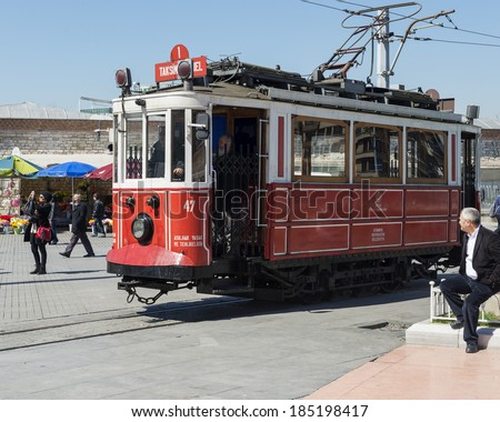 ISTANBUL,TURKEY- MARCH 31:Nostalgic tram of Istanbul. It runs between Taksim and Tunel via Istikal Street on March 31,2014.