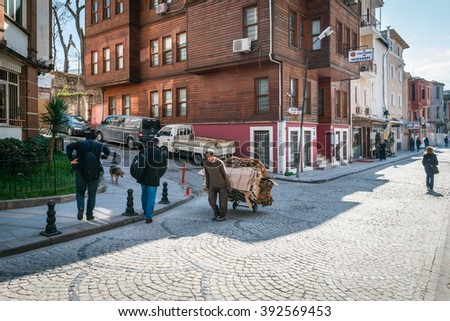 Istanbul, Turkey - March 10, 2015: People are walking in streets of Istanbul, Turkey
