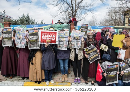 ISTANBUL, TURKEY - MARCH 05, 2016: Thousands of people gather in solidarity outside Zaman newspaper in Istanbul on March 05, 2016 in Istanbul, Turkey.