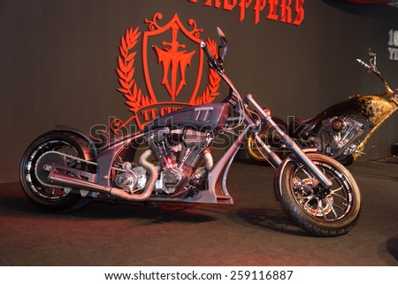 ISTANBUL, TURKEY - MARCH 01, 2015: TT Custom Choppers motorcycle in Eurasia Moto Bike Expo in Istanbul Expo Center