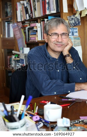 ISTANBUL, TURKEY - MARCH 13: Turkish author, novelist and screenwriter Orhan Pamuk on March 13, 2010 in Istanbul, Turkey. Orhan Pamuk is recipient of the 2006 Nobel Prize in Literature.