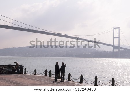 Istanbul, Turkey - March 11, 2011: View from the Bosphorus which devides Europe from Asia, Istanbul, Turkey. - stock photo
