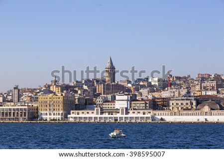 Istanbul, Turkey - March 30, 2016: View of the Galata Tower in Beyoglu district of Istanbul on March 30. The iconic tower was built by the Genoese in 1348.