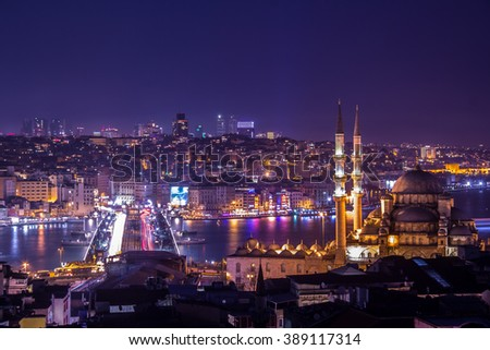 ISTANBUL, TURKEY - March 5, 2016; Yeni Cami Mosque The New Mosque and Galata Bridge at night in Istanbul , Turkey