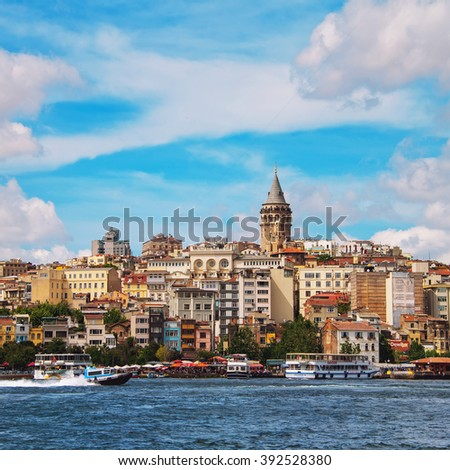ISTANBUL, TURKEY - MAY 31, 2015: Aerial view of the Karakoy skyline with the Bosphorus. Touristic boats going down the river, Galata tower and other historical buildings at the background