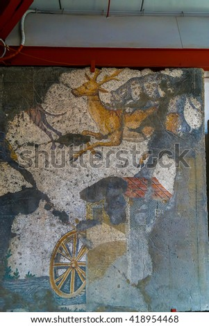 Istanbul, Turkey - May 11, 2016:  Ancient mosaic revealed from the Byzantines and Rome era at Istanbul