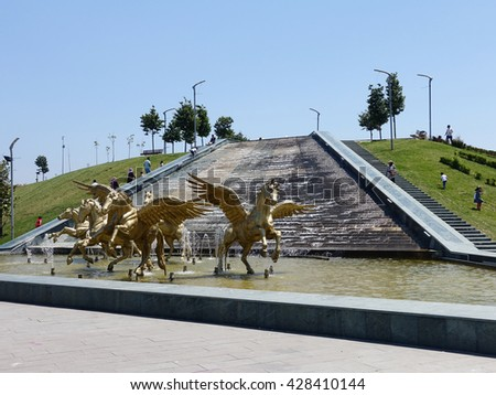 ISTANBUL, TURKEY - MAY 29, 2016: Bakirkoy District in istanbul.Beautiful Botanic Park in Bakirkoy District,There is Pegasus horse sculptures
