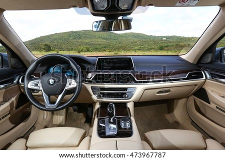 Istanbul, Turkey - May 4, 2016. BMW 730 inside