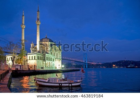 ISTANBUL, TURKEY - MAY 05, 2009: Bridge over the Bosporus and Ortakoy Mosque at dusk