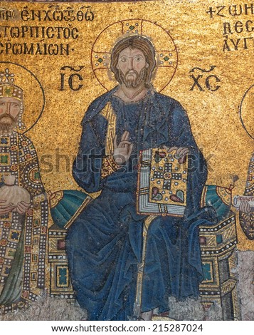 ISTANBUL, TURKEY - MAY 18, 2014 - Christ enthroned,  Byzantine mosaic in the gallery of  Hagia Sophia  in Istanbul, Turkey - stock photo