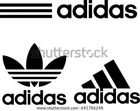 Istanbul, Turkey - May 11, 2017: Collection of Adidas logos printed on paper.