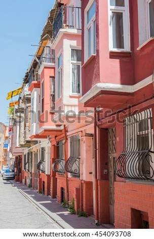 ISTANBUL, TURKEY - MAY 15, 2016: Colorful houses in old city Balat. Istanbul, Turkey.