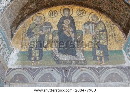ISTANBUL, TURKEY - MAY 17, 2014 -Constantine and Justinian make offerings to the Blessed Virgin Mary and her son, Jesus, Byzantine mosaic in the gallery of Hagia Sophia,  in Istanbul, Turkey - stock photo