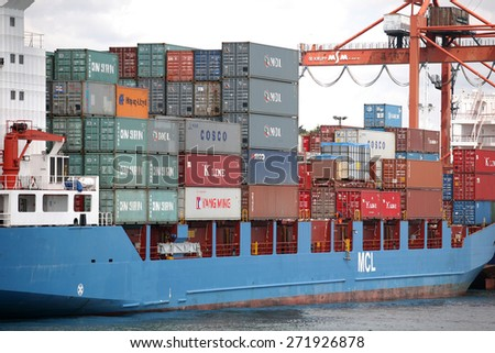 ISTANBUL, TURKEY - MAY 8: Container ship at Haydarpasa Port on May 8, 2008 in Istanbul, Turkey. - stock photo