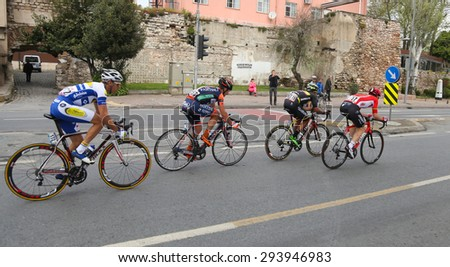 ISTANBUL, TURKEY - MAY 03, 2015: Cyclists in Sarayburnu district during Istanbul Stage of 51st Presidential Cycling Tour of Turkey.