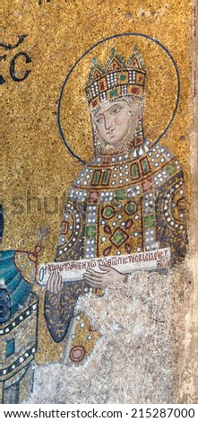 ISTANBUL, TURKEY - MAY 18, 2014 - Empress Zoe,  Byzantine mosaic in the gallery of  Hagia Sophia  in Istanbul, Turkey - stock photo