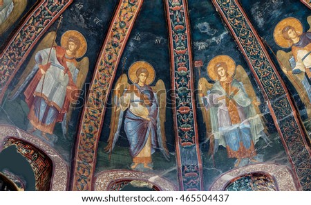 ISTANBUL, TURKEY - MAY 15, 2014 - Fresco of archangels, Chora Church (Kariye Muzee ) in Istanbul, Turkey