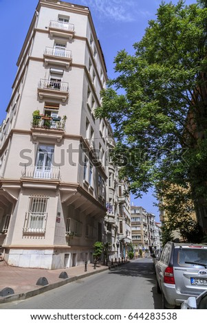 Istanbul, Turkey - May 13, 2017: Generic architecture in Cihangir, Beyoglu, Istanbul. Cihangir is a popular central neighborhood between the Taksim Square and the Bosphorus.