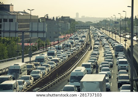 ISTANBUL, TURKEY, MAY 26, 2015: Heavy traffic jam at the entrance of Mecidiyekoy District, one of the most populated financial districts of Istanbul, Turkey.
