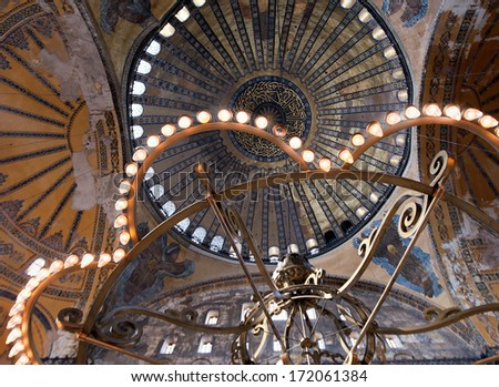 ISTANBUL, TURKEY - MAY 2: interior of the Hagia Sophia on May 02, 2012 in Istanbul,Turkey. Hagia Sophia is a former orthodox patriarchal basilica and now a museum