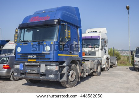 ISTANBUL, TURKEY - MAY 30, 2016: 2000 Itailan Iveco Eurotech, 4000cc, 401 HP Semi-trailer truck and other trucks at truck garage in Istanbul, Turkey - stock photo