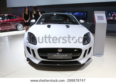 ISTANBUL, TURKEY - MAY 30, 2015: Jaguar F-Type R in Istanbul Autoshow 2015