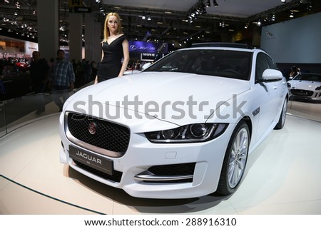 ISTANBUL, TURKEY - MAY 30, 2015: Jaguar XE in Istanbul Autoshow 2015