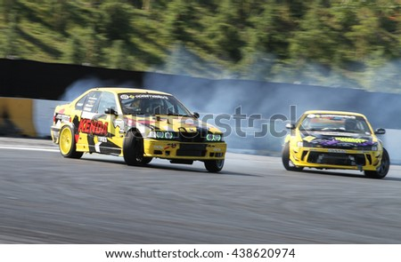 ISTANBUL, TURKEY - MAY 29, 2016: Kemal Ozhaseki drives BMW E36 M3 of JDM Works D Team in Apex Masters Turkish Drift Series Istanbul Race.