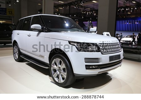 ISTANBUL, TURKEY - MAY 30, 2015: Land Rover Range Rover in Istanbul Autoshow 2015 - stock photo