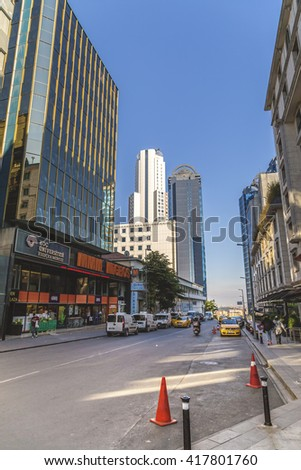 Istanbul, Turkey - May 8, 2016: Mecidiyekoy district in European side of Istanbul. The area is known with business towers and vivid social life in the heart of the city.