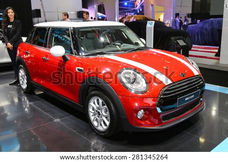 ISTANBUL, TURKEY - MAY 21, 2015: Mini Hatch 5 door in Istanbul Autoshow 2015