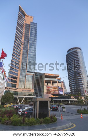 Istanbul, Turkey - May 24, 2016: Modern district of Levent, Istanbul. Levent is a financial center of the city with skyscrapers, shopping malls and business offices. - stock photo