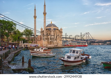 ISTANBUL,TURKEY, MAY 15, 2015: Ortakoy Mosque in Besiktas, Istanbul, Turkey, is situated at the waterside of the Ortakoy pier square, one of the most popular locations on the Bosphorus. - stock photo