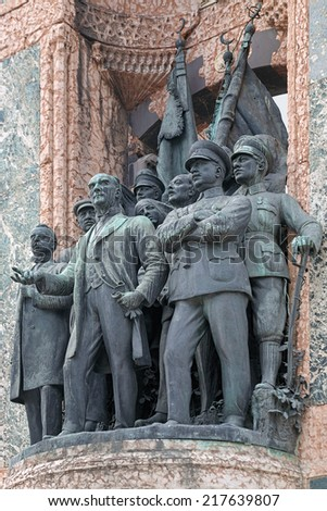 ISTANBUL, TURKEY - MAY 5, 2008: Sculptures of Mustafa Kemal Ataturk and other founders of the Turkish Republic on the Republic Monument at Taksim Square. The monument was unveiled on August 8, 1928.