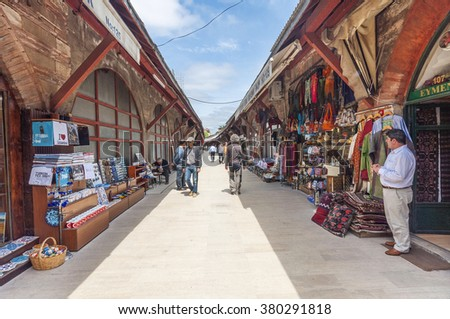 Istanbul, Turkey - May 17, 2011 : Shopping district around Sultanahmet. Sultanahmet is the most populer tourist attraction in Istanbul.