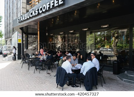 ISTANBUL, TURKEY - MAY 13, 2016:Starbucks coffeehouse in istanbul on MAY 13, 2016 in Istanbul. Starbucks is the largest coffeehouse company in the world, with almost 20,000 stores in 58 countries