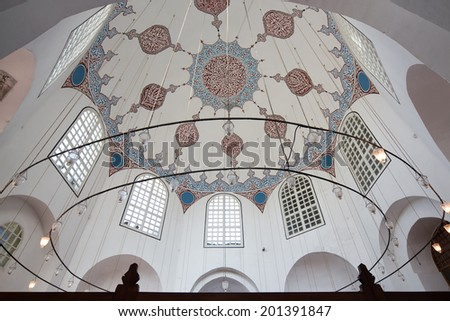 ISTANBUL, TURKEY, - MAY 2: Symmetrical composition of the ceiling Sultans Tombs near the museum Hagia Sofia, on May 2, 2013, in Istanbul, Turkey,
