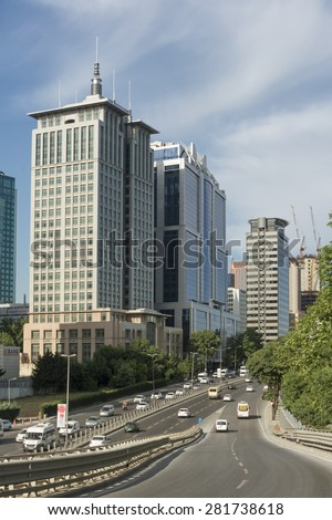 ISTANBUL,TURKEY, MAY 26, 2015: Traffic flowing in Maslak; one of the main business districts of Istanbul, located on the European side of the city. - stock photo