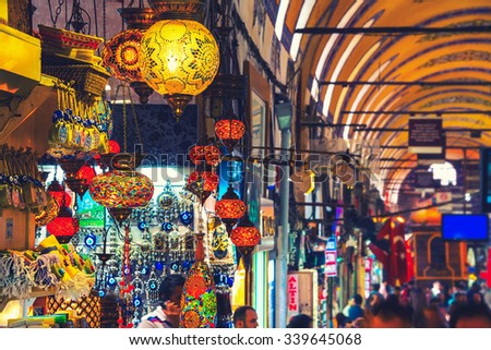 ISTANBUL, TURKEY - MAY 29, 2015: Typical lanterns at Grand Bazaar. It is one of the largest and oldest covered markets in the world, with 61 covered streets and over 3,000 shops - stock photo