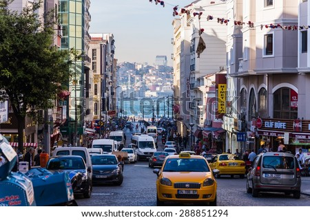 ISTANBUL, TURKEY May 14, 2015: typical street life in istanbul