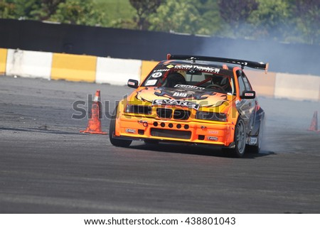 ISTANBUL, TURKEY - MAY 29, 2016: Volkan Arisoy drives BMW E36 325 of Parkur Racing Team in Apex Masters Turkish Drift Series Istanbul Race.