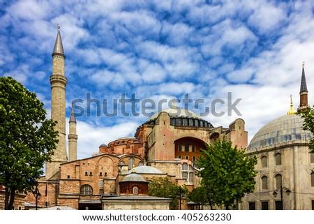 Istanbul, Turkey. Mosque, Hagia Sophia - architectural monument of Byzantine Culture. - stock photo