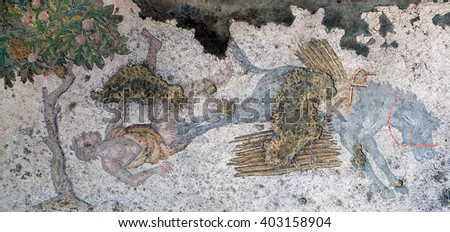ISTANBUL, TURKEY - NOVEMBER 2, 2015: Ancient mosaic from the Byzantine period in the Great Palace Mosaic Museum in Istanbul, Turkey.