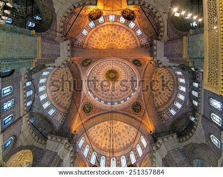 ISTANBUL, TURKEY - NOVEMBER 12, 2014: Ceiling painting of Yeni Mosque. Yeni Mosque is an Ottoman imperial mosque located in the Eminonu quarter, it was built in 1597-1663 and inaugurated in 1665. - stock photo
